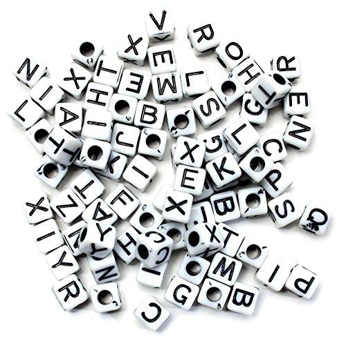 Alpha Alphabet Bead (Cousin Fun Packungen 85TLG. Alpha Perlen Quadratisch/Weiß Mix)