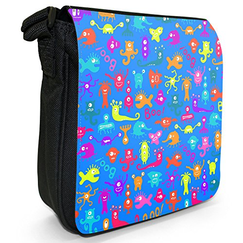 Funny Monsters-Borsa a spalla piccola di tela, colore: nero, taglia: S Nero (Boo! Scary Monsters)