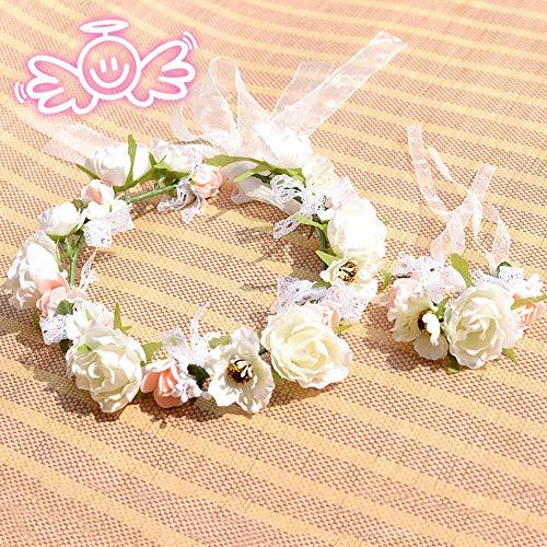 ZHIHUIflower 2 Sätze der idyllischen Braut-Tiara-Handgelenk-Blumen-Girlande (Satz Braut Tiara)