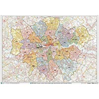 Greater London Authority Boroughs with Postcode Districts Wall Map - Plastic Coated