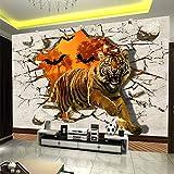 Große Benutzerdefinierte Wandbild vlies Seidentuch Tapete Wandmalerei Tiger Gebrochene Wand...