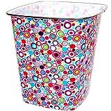 Papierkorb / Behälter -  Bunte Kreise & Kringel - Retro Design  - 7,5 Liter - 4 ECKIG - aus Kunststoff - Mülleimer / Eimer - Aufbewahrungsbox für Kinder / B..