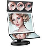 FASCINATE Miroir Maquillage avec 1/3 x / 5 x / 10 x Grossissement LED Lumineux Naturel, Rotation à 360 ° Miroir Cosmétique Alimentation avec USB et Batteries(Noir)