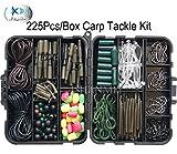 JSHANMEI ® 225pcs/Set Karpfenangeln Tackle Kit mit Wirbel/Haken/Ärmel/kautschuken Tubes/Lead Clips/Beads/Hair Rigs/Hair Extender Pfropfen Set