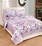 #6: Loomsense 100% Cotton 3D 5D Printed Double Bedsheet With Two Pillow Cover (90X100)Inches,multicolour Digital print