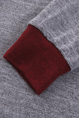 Flying Rabbit Damen Pullover Baumwolle Sweatshirt Tops Leicht Tunika Gestrickt Rundhals Langarmshirt Rot