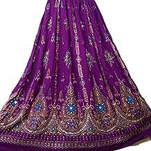 Señoras Indian Boho Hippie Gypsy falda larga de lentejuelas | Faldas de Bellydance | Mundo del bailarín (Lilac)