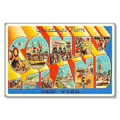 Herren Coney Island (Modtory Coney Island New York NY Retro Vintage Reise Postkarte Reproduktion Metal Sign Art Wall Decor 20,3x 30,5cm)