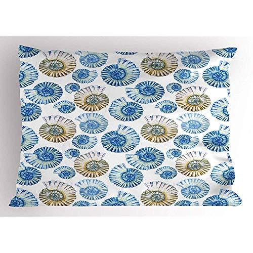 4 Stück 18X18 Zoll Nautical Pillow Sham,Muster Der Aquarell-Stil Illustration Von Korallen Muscheln Und Krabben,Home Decor Standard Queen Size Gedruckt Kissenbezug -