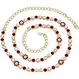 I Jewels 18k Gold Plated Kundan Stone Studded Kamarband/Waist Belly Chain for Women (B003R)