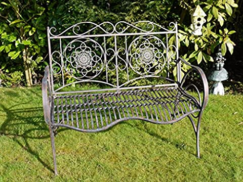 Vintage Antique Style Aged Effect Metal Garden Bench ~ Two Seater Bench
