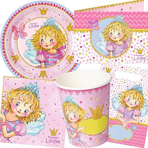 104-teiliges PARTY SET * PRINZESSIN LILLIFEE * für Kindergeburtstag mit 8 Kinder: Teller, Becher, Servietten, Einladungen, Partytüten, Luftschlangen, Luftballons, u.v.m. // Princess Prinzessinnen Deko Kinder Mädchen Pink Rosa Geburtstag Party