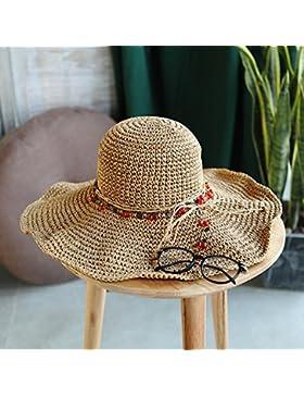 LVLIDAN Sombrero para el sol del verano Lady Anti-Sol Playa sombrero de paja plegable color café