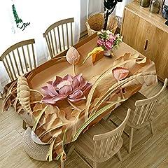 Idea Regalo - HUANZI Tovaglia in poliestere 3D Una stampa a fiori di loto di fiori di pittura a prova di polvere della cucina spessa decorazione della cucina, rectangle - wide 134cmx long 183cm