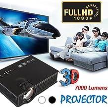 Jiayuane (Negro + enchufe de la UE) Proyector de video UC40 Mini LED, 7000 lúmenes Proyector de video de cine en casa multimedia Soporte 1080P Tarjeta de HDMI USB SD VGA AV Cine en casa TV Juego de co