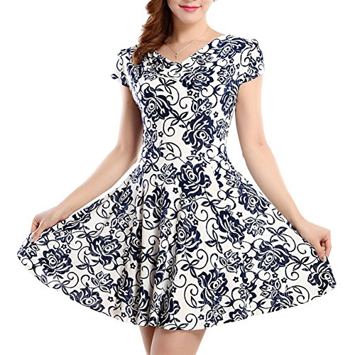 Damen Vintage 50's Sommerkleid mit Flatterndem Rock Blumenmuster Elegant Casualkleider Bunte Kleider Kurz Printkleider Marine Weiß