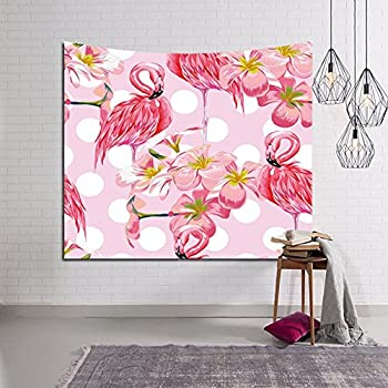 QEES Flamingo Tapestry with Exotic Plants Tropical Palm Leaves Home ...
