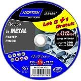 Norton Lot de 3 + 1 Meules tronçonnage métal 230 x 1,9 x 22,2 mm