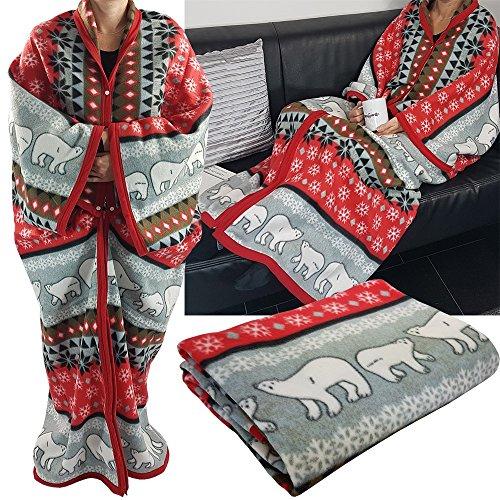PROHEIM Kuscheldecke Cozy Bears mit Ärmeln 150 x 170 cm TV-Decke/Ärmel-Decke aus Microfaser kuschelige und wärmende Wohn-Decke, Farbe:Rot