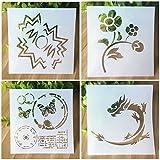 Set de 4pcs Plantillas de Dibujo de Plástico Stencil Scrapbooking Diseño Flores Dragones Mariposas Nubes Para Niños Artesanía de Bricolaje,Plantillas con diferentes patrones para pintar con aerógrafo, para manualidades y decoración