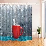 Nyngei Abstrakt Duschvorhang für Badezimmer, rote Tasse mit Warmwasser-Tisch mit Glas-Dew Polyester-Stoff, wasserdicht, Duschvorhang mit Haken 180x 180cm