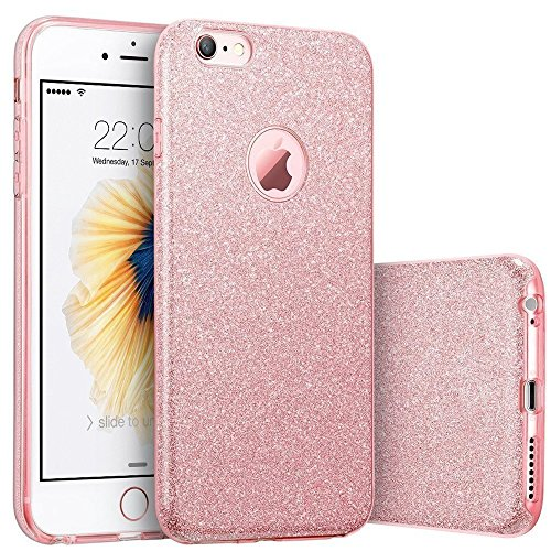 iPhone 7 plus Case, SICAS? Fashion Luxury Protective Hybrid Beauty Crystal Rhinestone Sparkle Glitter Hard Diamond Case Cover For iPhone 7s plus / 7 plus (Blue-3 Layer) Rose Gold