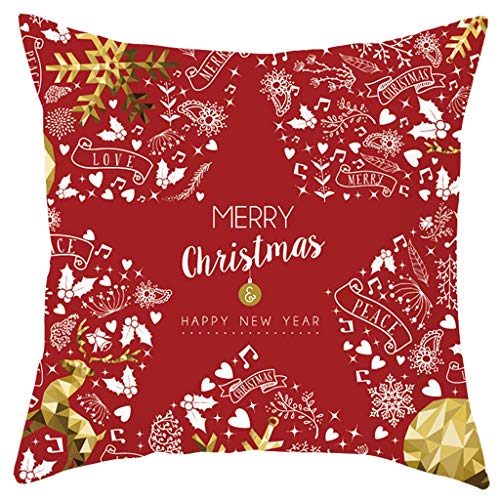 OPALLEY 4 Stück Kissenbezug Frohe Weihnachten Dekorative Kissenhülle Winter Schneeflocke Elk Weihnachtsbaum Muster Baumwolle Leinen Werfen Sie Kissenbezüge 45x45 cm