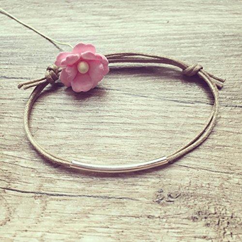 Stab Armband in Beige Silber Größenverstellbar, Geometrie / stick / vintage / ethno / hippie / must have / statement / florabella schmuck -