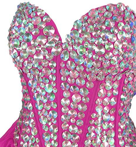 Vantexi Frauen Kristall Kurz Abendkleid Formal Ballkleid Partykleid Rose