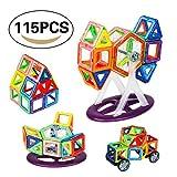 Magnetisch Bausteine, Magnet Building Fliesen-Kits, ABS Kunststoff Blöcke mit Big Aufbewahrungsbox und Anleitung, Creative, und lehrreiches Geschenk, 115 Pack (56 Stück Blöcke)