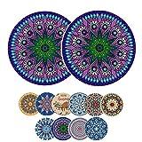 Untersetzer für Getränke, saugfähig, Keramiksteine, Boho Untersetzer mit Korkunterseite, 10 Farben, 9,9 cm, keramik, Style-h, 2-piece