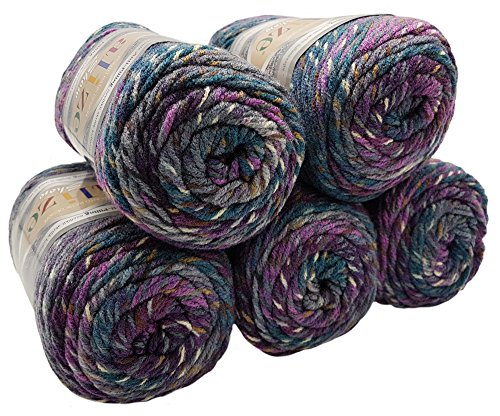 Alize Punto Anti Pilling 5 x 100 Gramm Mosaik Wolle Tweed-Effekt mit farbigen Tupfern, Effektwolle (Beere Flieder grau Petrol 6366) -