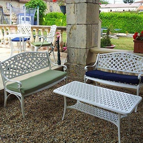 Lazy Susan – CLAIRE Rechteckiger Garten Beistelltisch mit 1 ROSE Gartenbank – Gartenmöbel Set aus Metall, Weiß - 3