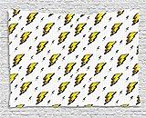 Ambesonne Décoration vintage Collection rétro, Flash Electric icônes avec des lignes à carreaux Funky météo Batman Boom Pop Art Comic, chambre à coucher Salon Dortoir Tapisserie murale, 80W X 60L pouce, Blanc Jaune...