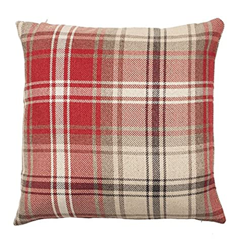 McAlister Textiles Angus   Extra Large Square Shabby Chic Soft Woven Tartan Check Tweed Brick Red, Grey & White Cushion Covers   60cm 24x24