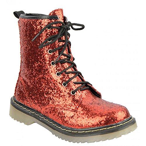 Kick Footwear Damen Stiefelette mit Schnürung vorne Rot