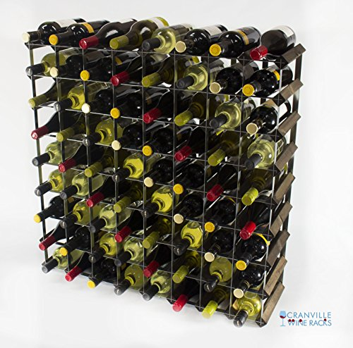 Legno Classic 72 bottiglia in rovere tinto scuro e metallo zincato vino rack autoassemblaggio