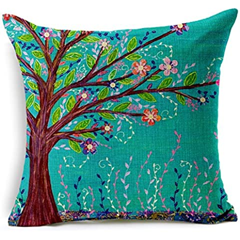 Poens Dream Cuscino, Abstract Trees with Flowers Cotton Linen Decorative Throw Pillow Case Cushion Cover, 17.7 x