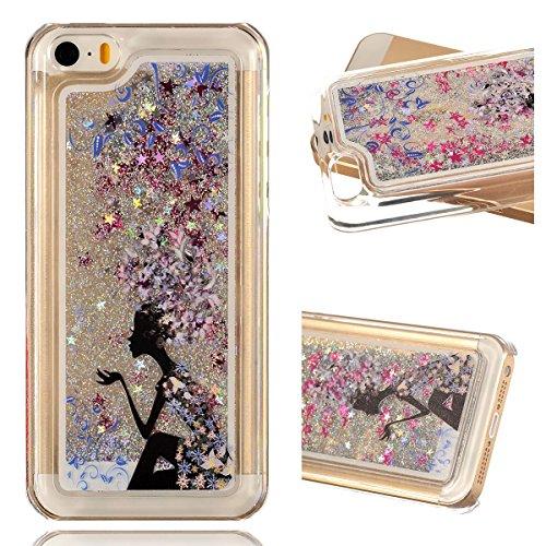 Beiuns Coque en Plastique Circuler liquide pour Apple iPhone5C Housse Case - WM512 arbre coloré WM528 fille en violet