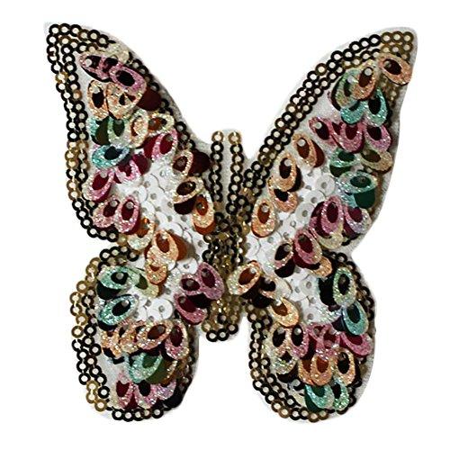 Monbedos Parche de tela de mariposa de colores