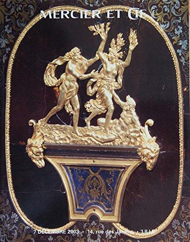7 decembre 2003, Lille, Horlogerie, bijoux, céramique, Orfèvrerie, objets d'art et d'ameublement, tableaux anciens, tableaux modernes et contemporains, mobilier, tapisserie, tapis