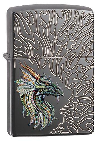 Zippo Dragon with Flames Design Feuerzeug, Messing, Grau, One Size (Zippo Feuerzeug Dragon)