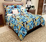 Home Candy 144 TC Blue Leaves and Flowers Cotton Double Bed Sheet with 2 Pillow Covers - Blue