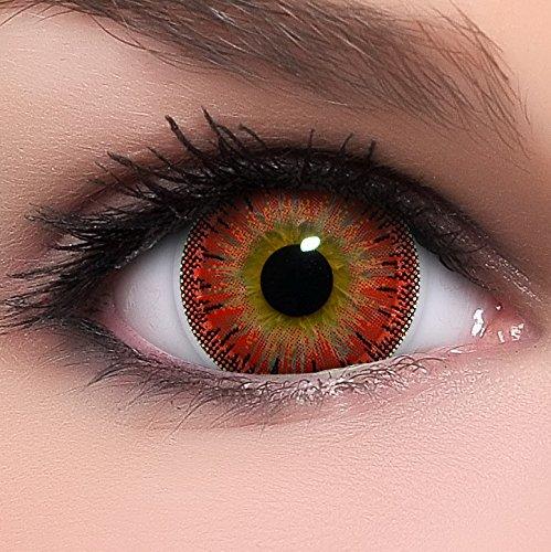 Linsenfinder Lenzera Circle Lenses rote 'Dolly Red' ohne Stärke + Behälter Big Eyes 15mm farbige Kontaktlinsen