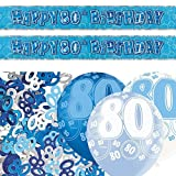 Unique Einzigartige bpwfa-4155Glitz 80. Geburtstag Folie Banner Party Deko-Set, Blau