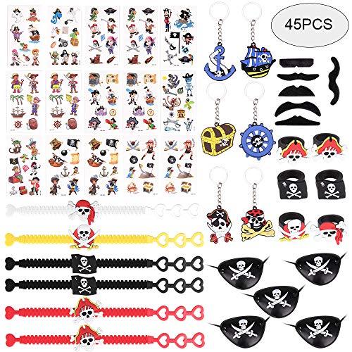 GOLDGE 45 Stück Piraten Mitgebsel Set Piraten Schlüsselanhänger Piraten Tattoos Armband Ringe Augen Masken falscher Bart für Kindergeburtstag Mitgebsel Piraten Party Dekoration