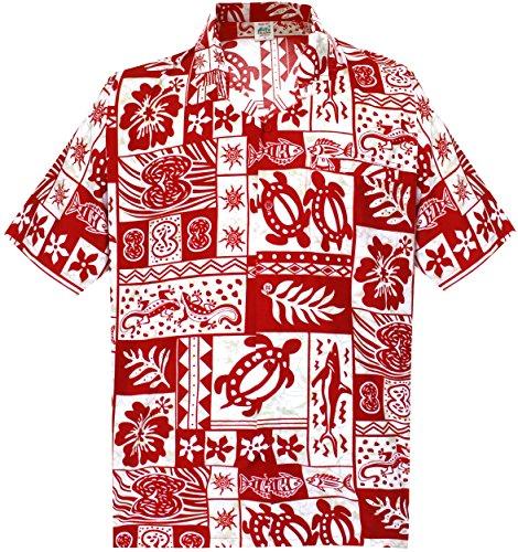LA-LEELA-Shirt-camisa-hawaiana-Hombre-XS-5XL-Manga-corta-Delante-de-bolsillo-Impresin-hawaiana-casual-Regular-Fit-Camisa-de-Hawaii-Rojo-993-4XL