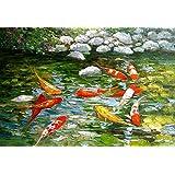 MAHALAXMI Art Digital Painting Koi Fish Painting No. 2 Poster Print On 13x19 Inches, Multicolor