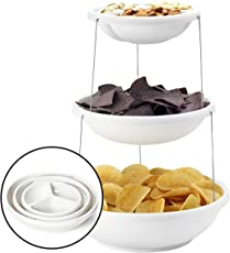 FWQPRA Serving Bowl for Snacks Salad Fruit Chaat Serving Bowl Twistfold Collapsible Party Bowl, 3 Tier