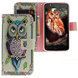 Motorola Moto E4 Hülle, CLM-Tech Tasche aus Kunstleder Wallet Case - Schutzhülle mit Standfunktion und Kartenfach Flip Cover - Bookstyle Handy Flipcase Eule mehrfarbig rosa, Motorola Moto E4 Handytasche